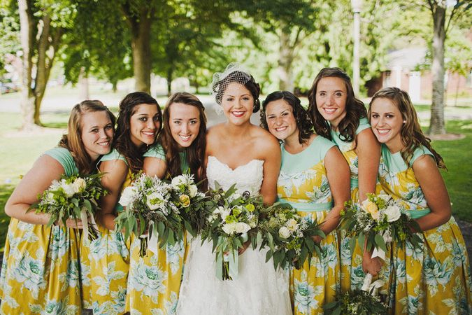 Yellow and mint floral bridesmaids