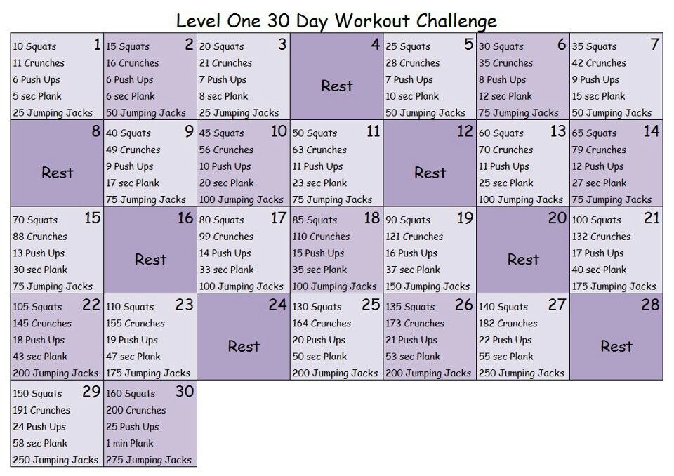 30 Day Workout Challenge Level 1 30 Day Workout Challenge 30 Day Fitness Workout Challenge