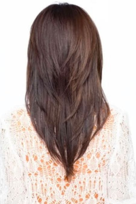 Super Long V Shape With Lots Of Layers Long Hair Styles Thick Hair Styles Haircut For Thick Hair