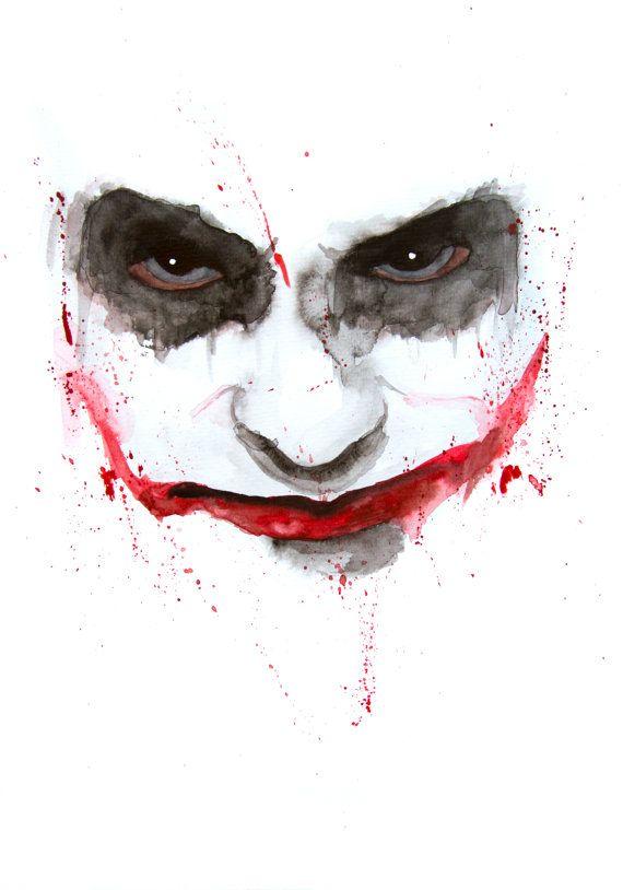 the joker batman original watercolor a4 the joker. Black Bedroom Furniture Sets. Home Design Ideas