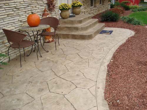 This Inviting Patio Was Colored With Davis Colors Pebble Concrete Color And  Was Stamped Using A Random Verona Stone Stamp. The Release Agent Was A  Desert ...