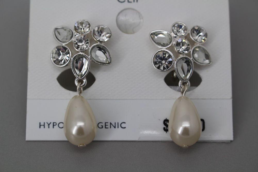 Charter Club Earrings Silver Tone Crystal Teardrop Faux Pearl Drop Clip