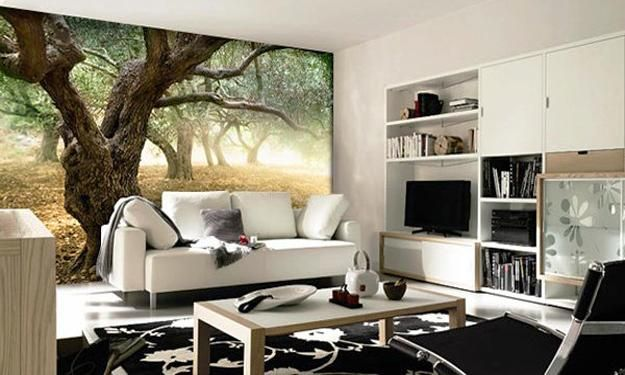 Modern interior design trends in photo wallpaper prints and murals
