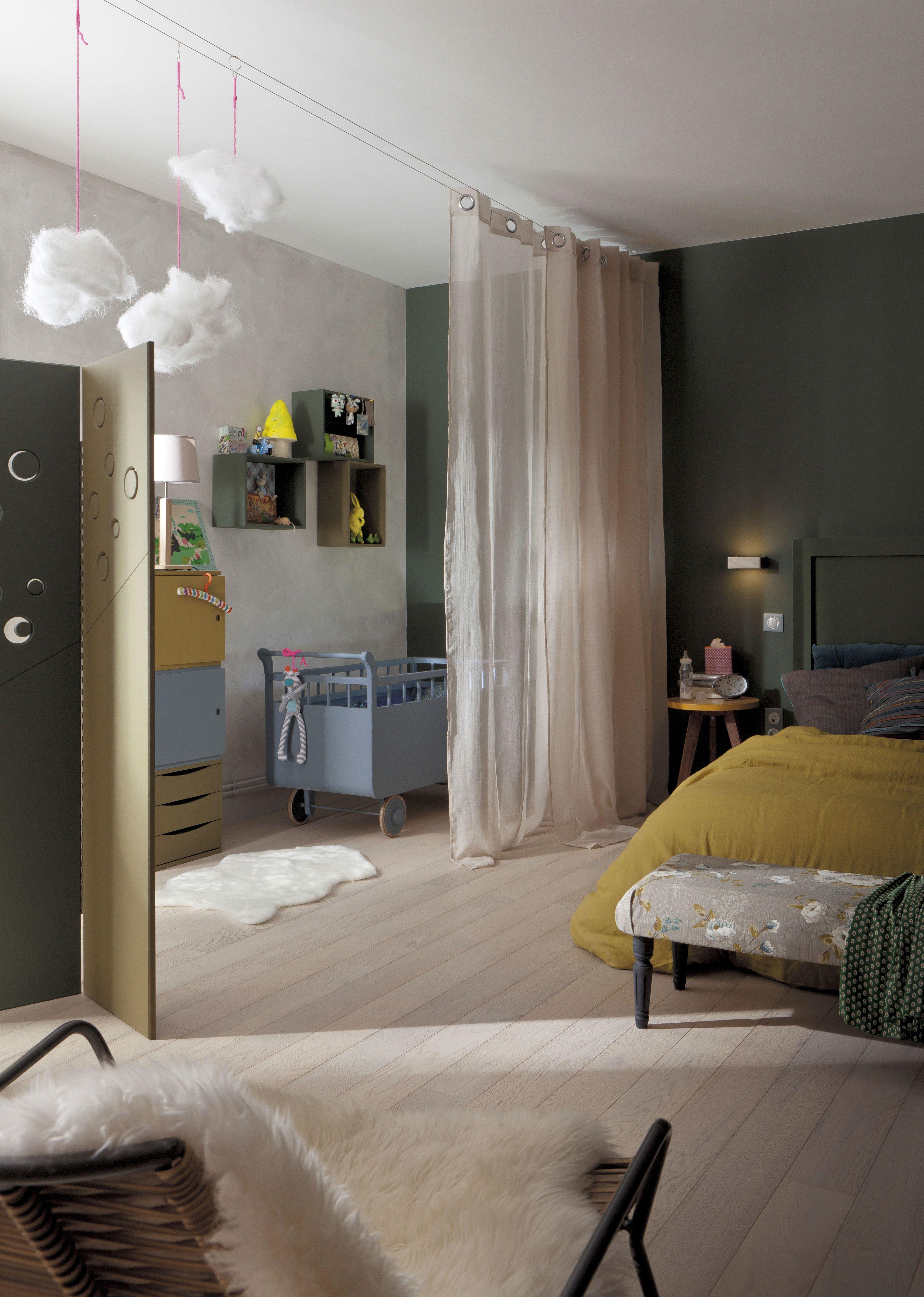cr er une chambre de b b provisoire avec un voilage rideaux chambre verri re cloison. Black Bedroom Furniture Sets. Home Design Ideas
