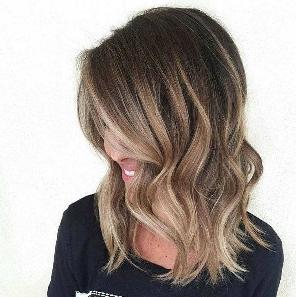 Ombre Hair Brown To Caramel To Blonde Medium Length Ombre Medium Le...