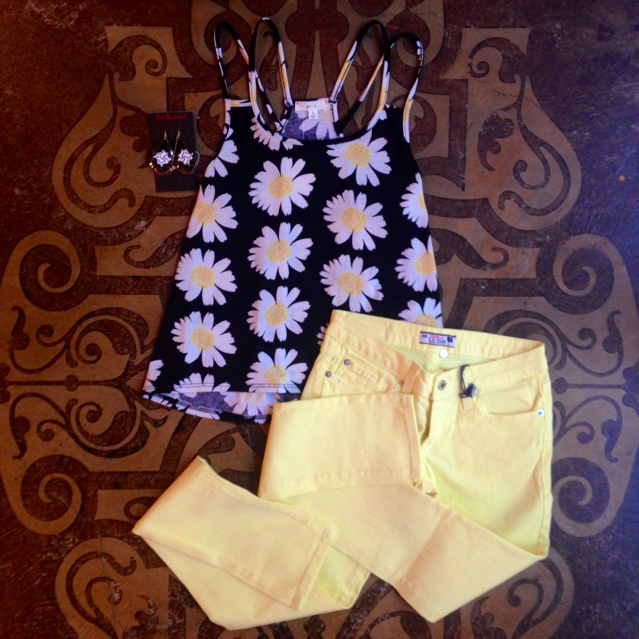 Double-strapped Daisy Tank and Yellow Denim Skinnies  Available at the Renaissance store  Call to order at: 601-853-0775 Or comment your email and size