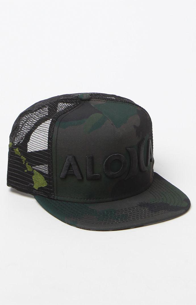eaa7d013 JJF Aloha Camo Trucker Snapback Hat | Hats | Hats, Hurley hats ...