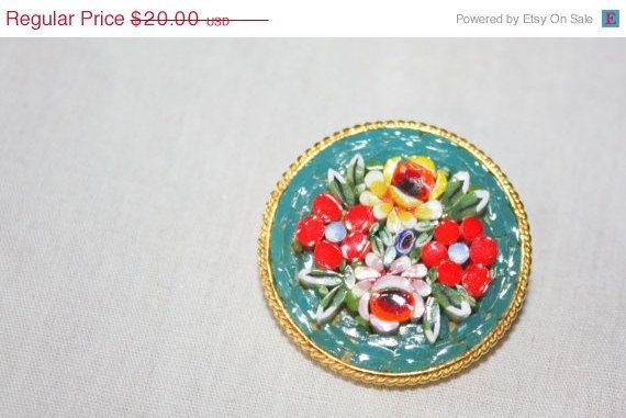 HUGE SALE50 OFF Vintage Beautiful Micro Mosaic by TheOldJunkTrunk, $10.00