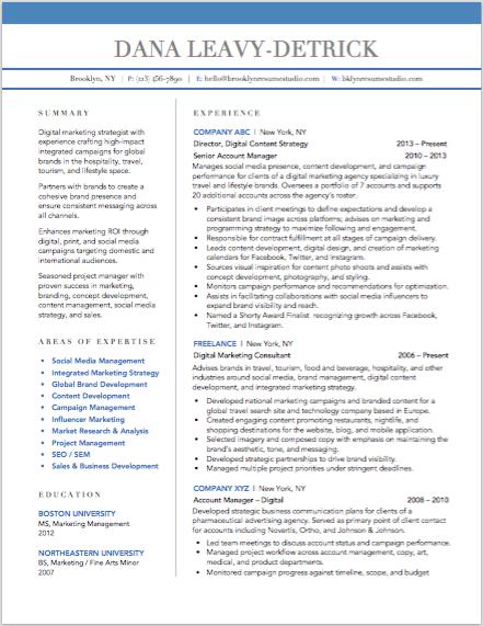 Creative Resume Design | Digital Marketer | BROOKLYN RESUME ...