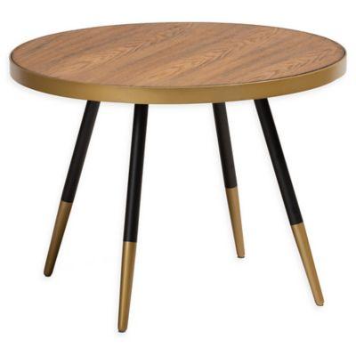 Baxton Studio Ness 24 Round Coffee Table In Walnut Black Round