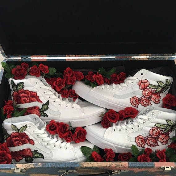 08f39cf40c08 TRUE WHITE    Custom Rose Floral Embroidered Vans Sk8-HI Mens and Womens  Size Available (Please choose your size carefully - listing is in US sizing.