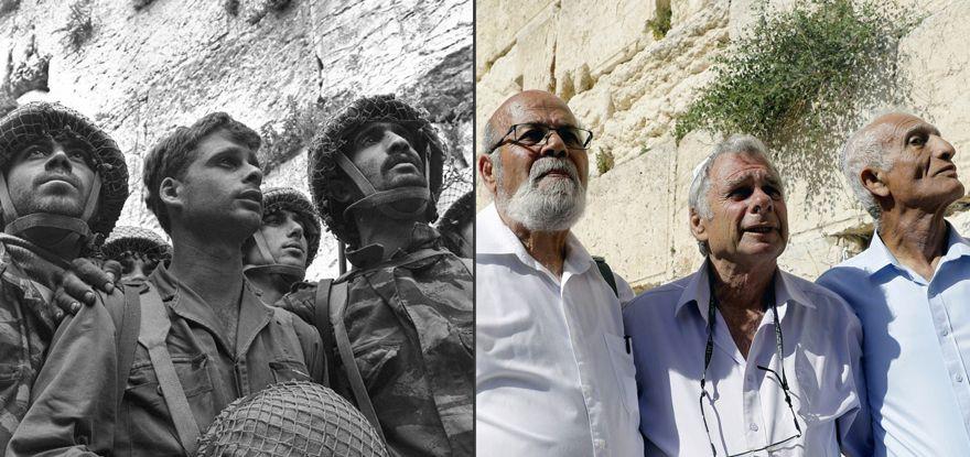 Los paracaidistas israelíes Tzion Karasenti (izq.), Yitzhak Yifat (c) y Haim Oshri (der.) junto al Muro Occidental en Jesusalén, en 1967 y en 2007.