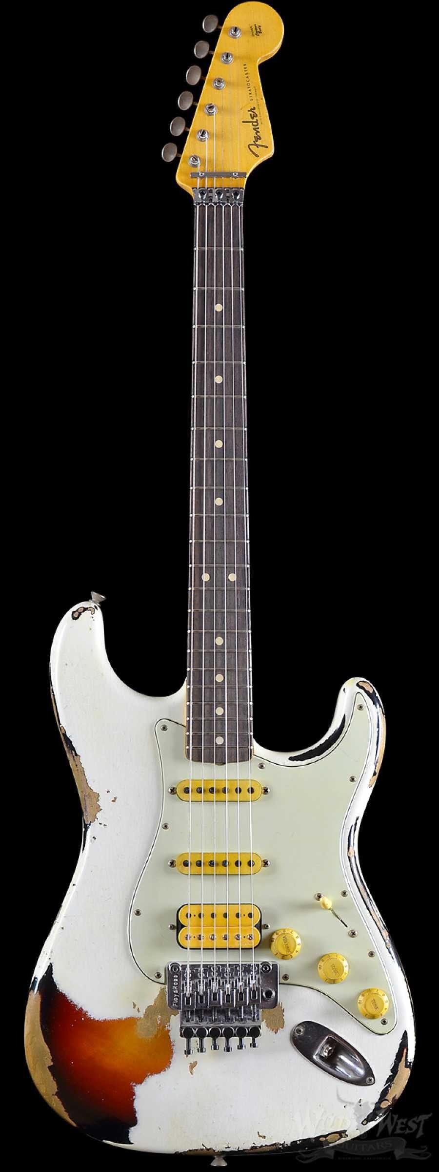 Fender Custom Shop White Lightning Stratocaster Hss Floyd Rose Heavy Relic Rosewood Board 22 Frets 3 Tone Sunburst Cool Electric Guitars Guitar Floyd Rose