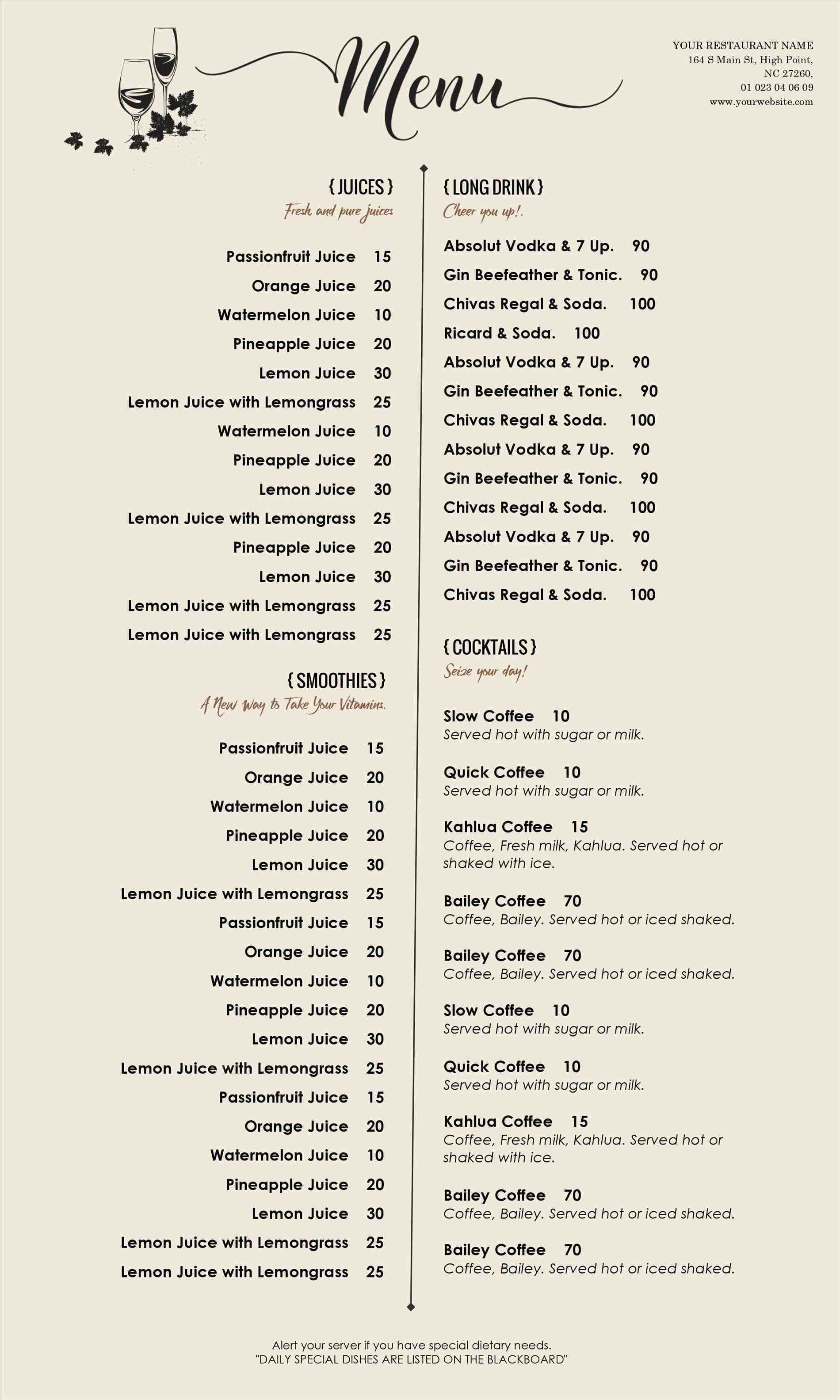 design a menu template free design templates for microsoft word