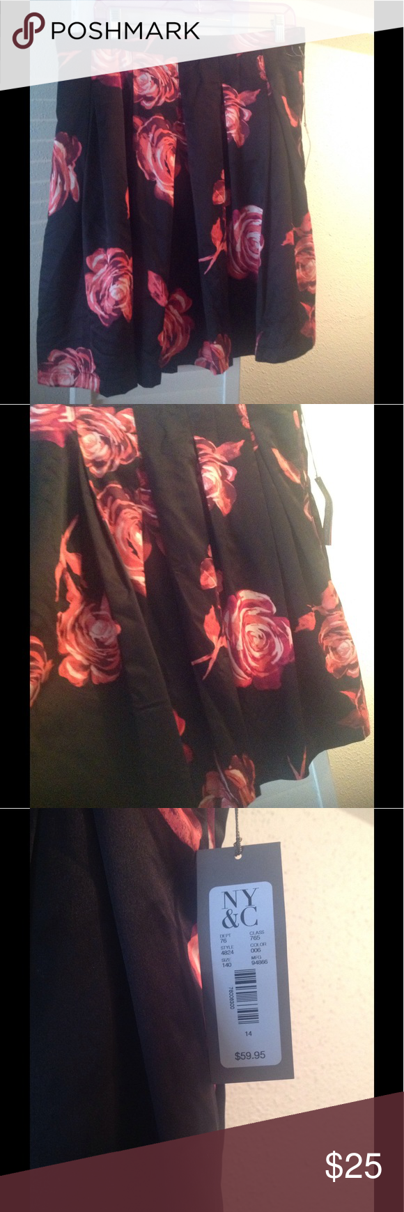 NWT Eva Mendes satin pleated skirt Red, pink, rise florals and box pleats. Fully lined ny&co Skirts Circle & Skater