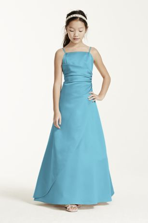 9adfac85b70 This long satin ball gown has a overlay and ruching at the side seam. The spaghetti  straps keep this dress simple. This dress will look great with our ...