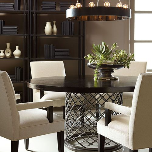 Bernhardt Room Setting Modern Metal Dining Tables Round