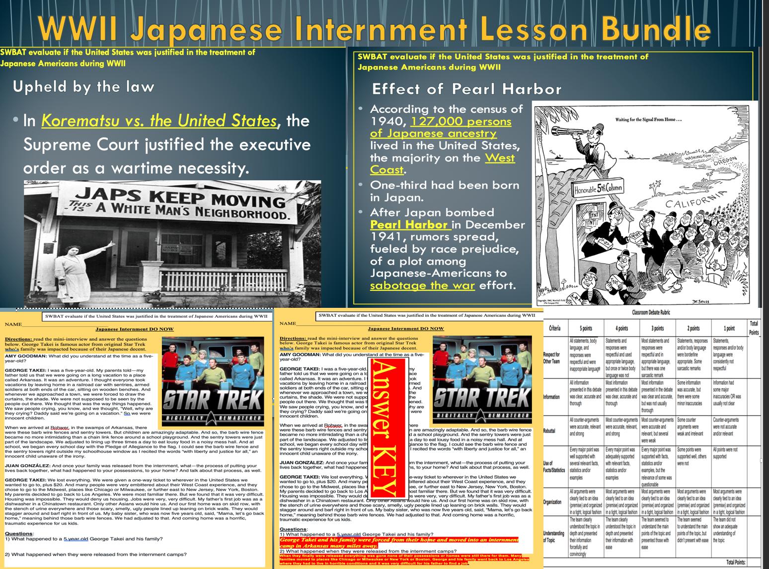 Japanese Internment Lesson Bundle Debate Activity In