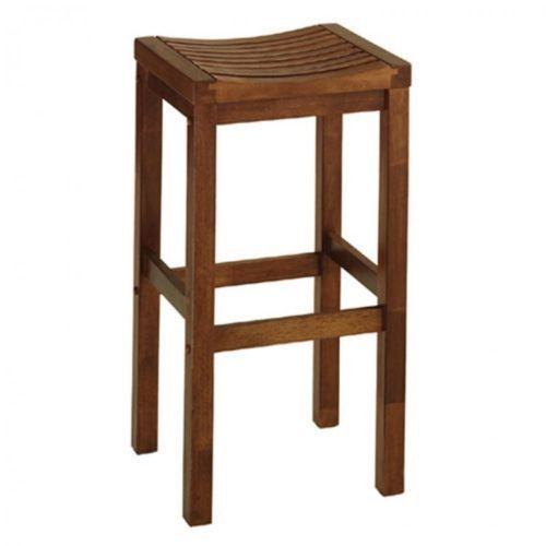Wood Bar Stool Backless Oak Kitchen Dining Seat 29 Inch Contour