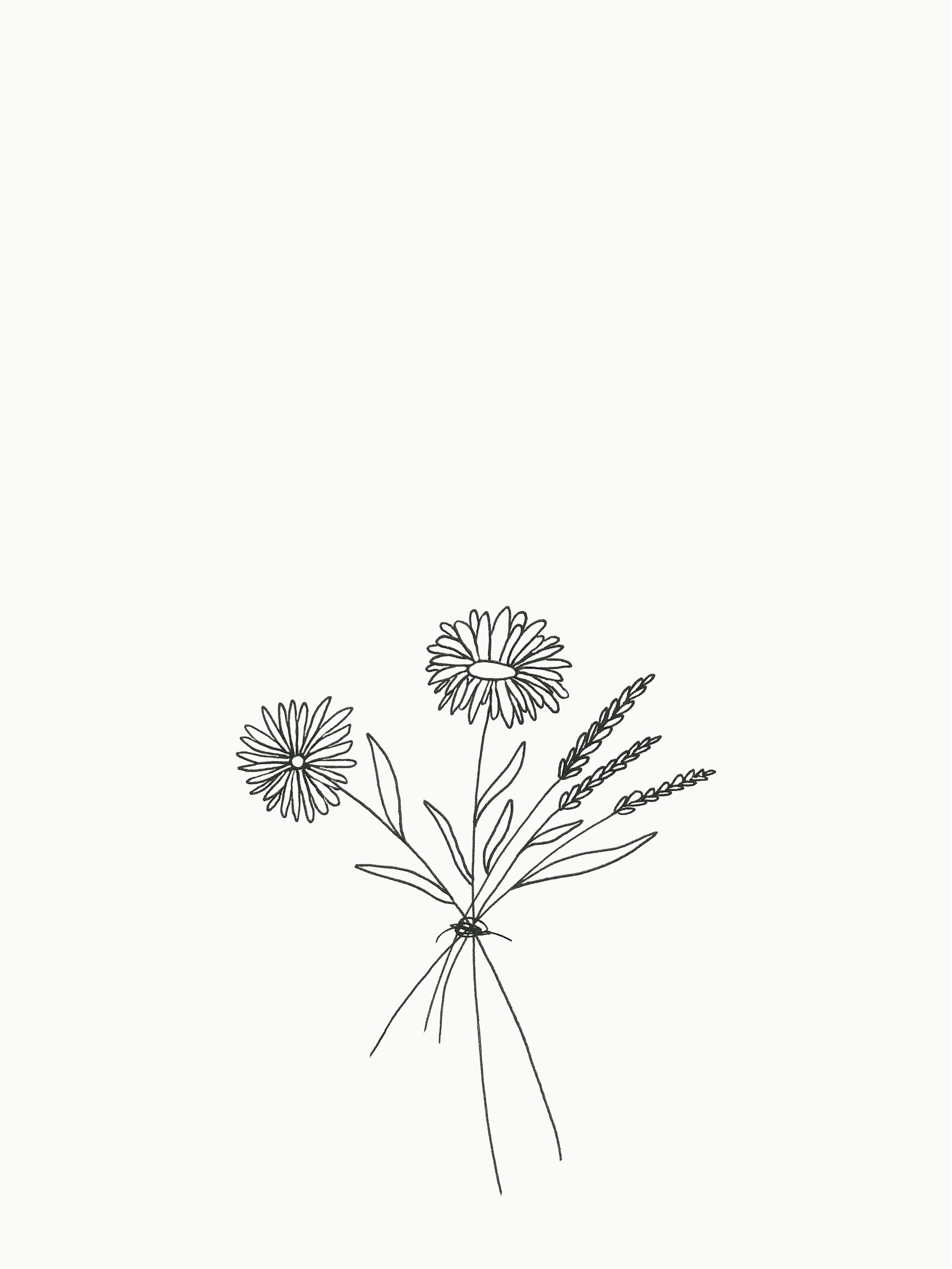 Detailed Simple Bouquet Of Flowers Drawing Flower Drawing Design Flower Line Drawings Flower Bouquet Drawing