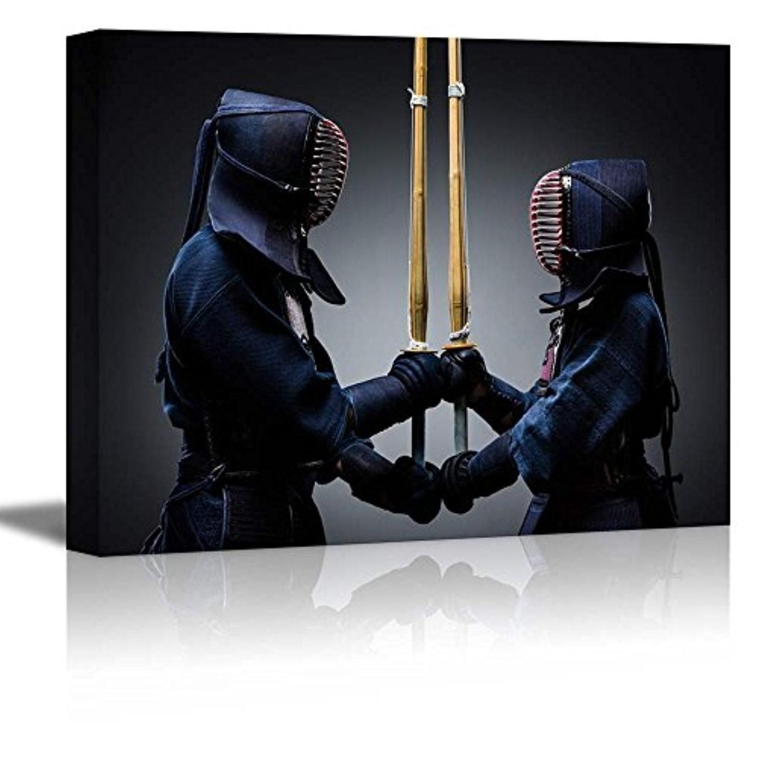 "Wall26 - Canvas Prints Wall Art - Two Kendo Fighters with Shinai Opposite Each Other | Modern Wall Decor/ Home Decoration Stretched Gallery Canvas Wrap Giclee Print. Ready to Hang - 12"" x 18"" - Brought to you by Avarsha.com"