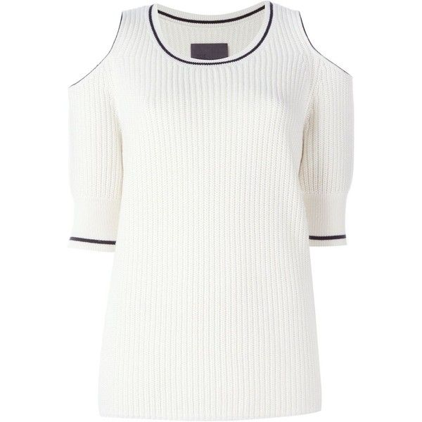 Zoe Jordan Mayer Cold Shoulder Jumper (690 CAD) ❤ liked on Polyvore featuring tops, sweaters, white, white jumper, jumper top, cold shoulder sweater, white cut out shoulder top and white sweater