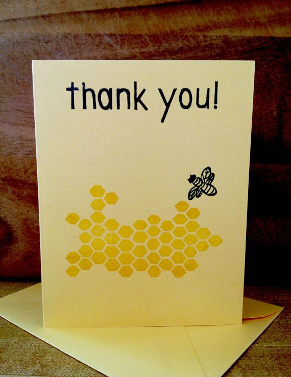 Block print greeting card bee with honeycomb thank you black block print greeting card bee with honeycomb thank you black and yellow on light yellow hand stamped on recycled paper m4hsunfo