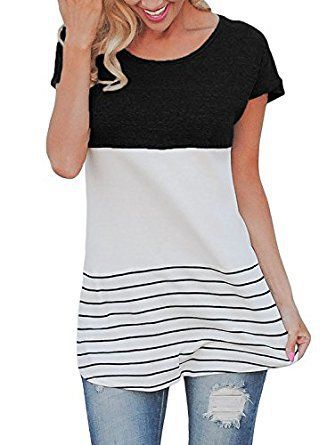 9ebe90b186 Dokotoo Womens Color Block Striped Short Sleeve Tunic T Shirt Tops ...