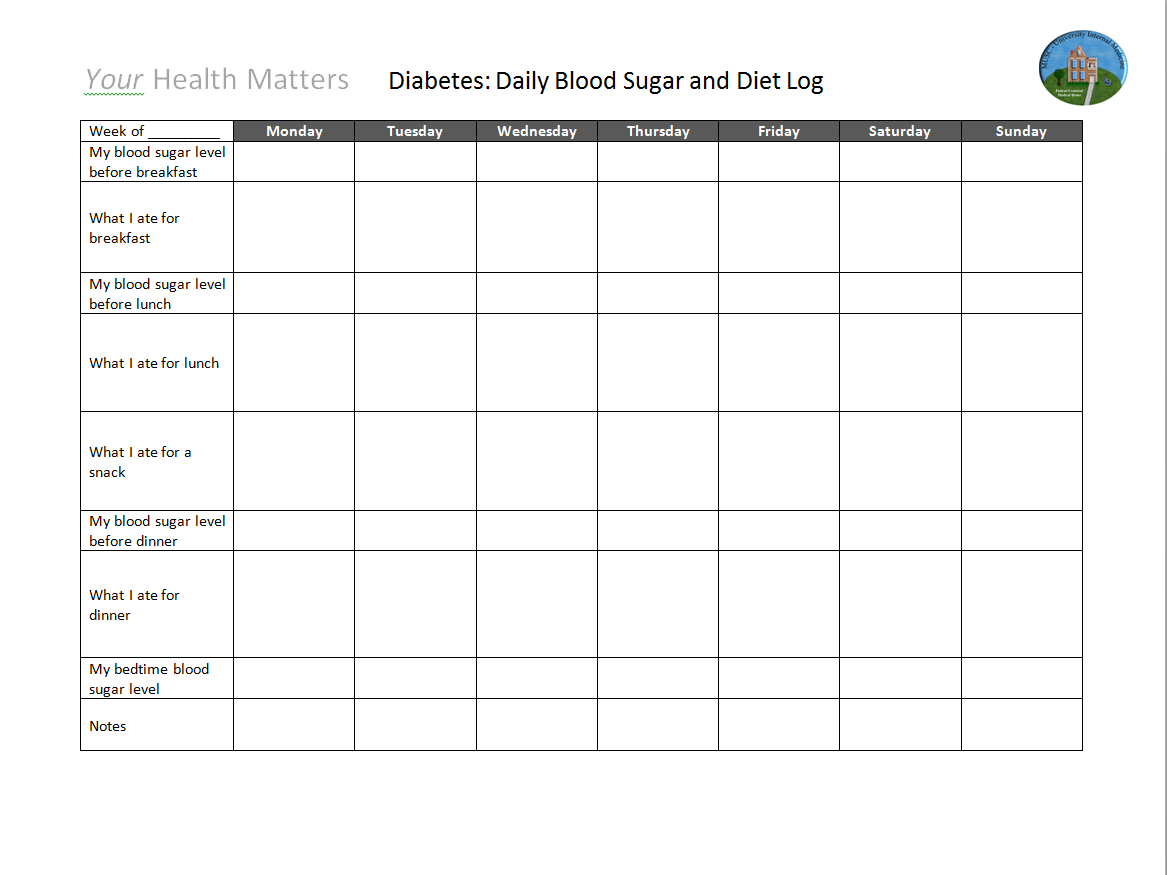 blood glucose log sheet printable
