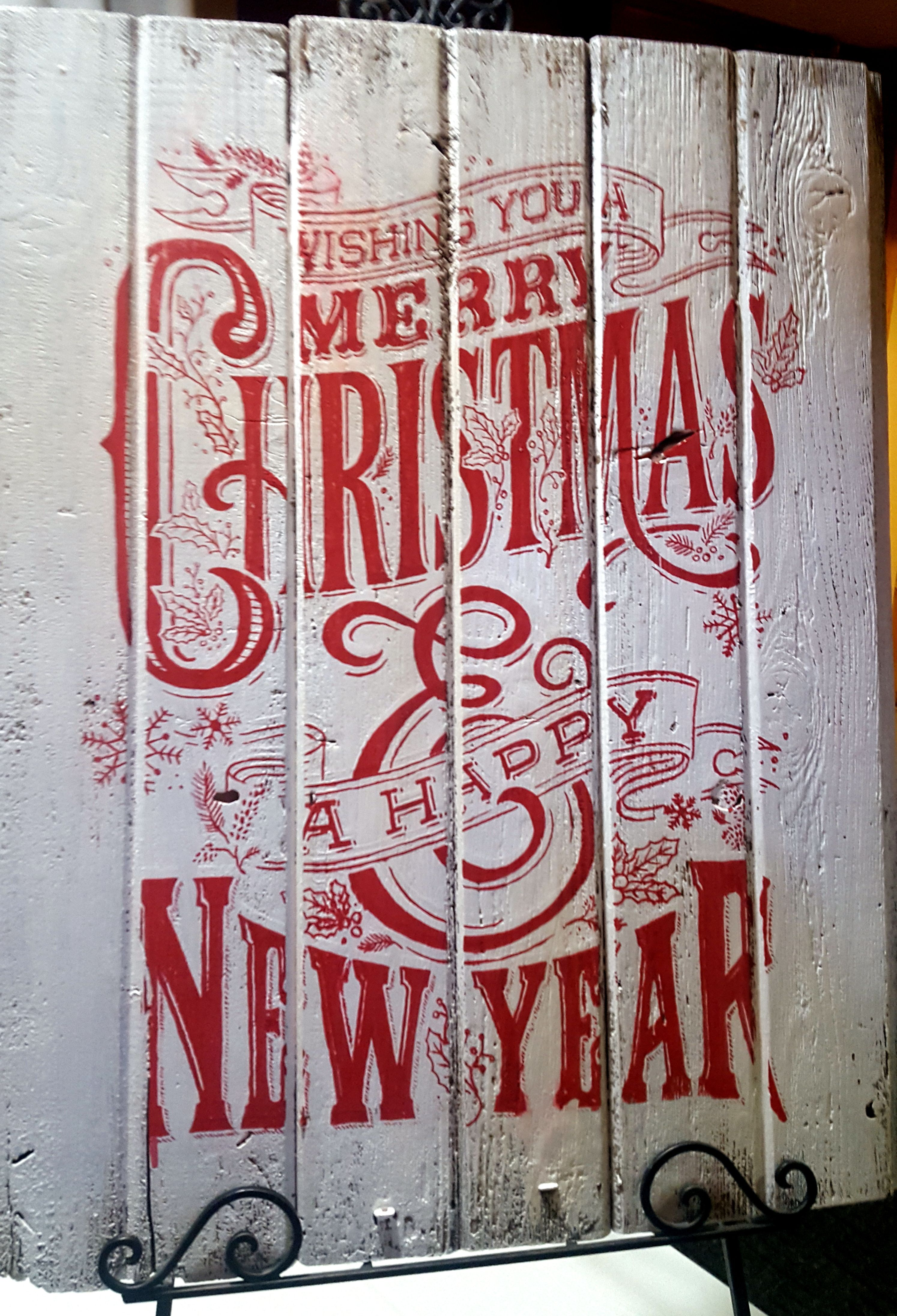 Chalk Couture Wishing You A Merry Christmas Chalk Transfer In Red Chalk Paste On Painted Boards Chalkcouture Via Bre Chalk Crafts Chalk Creations Chalk