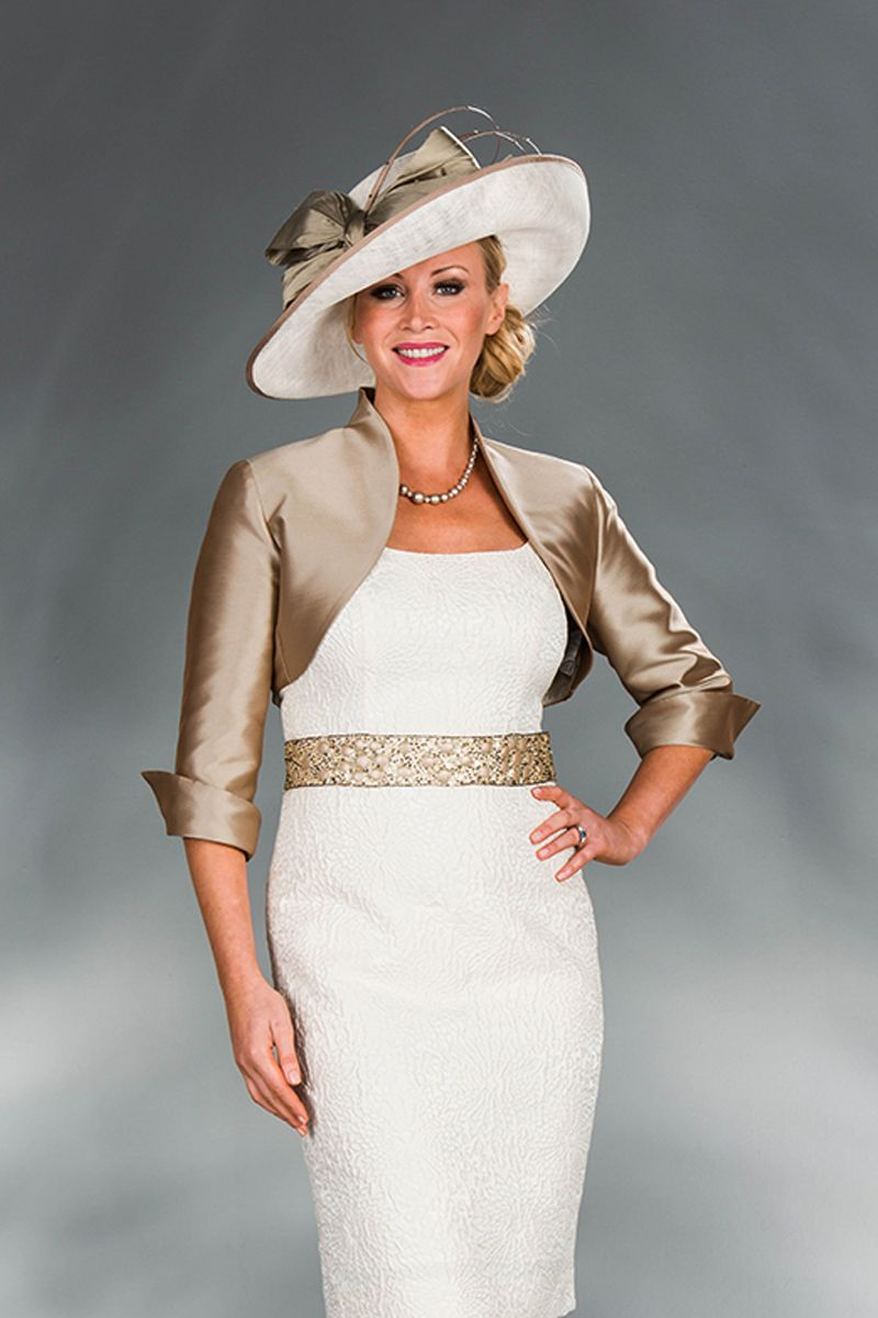 Cream/gold short dress & jacket 878-146-85 - Catherines of Partick ...
