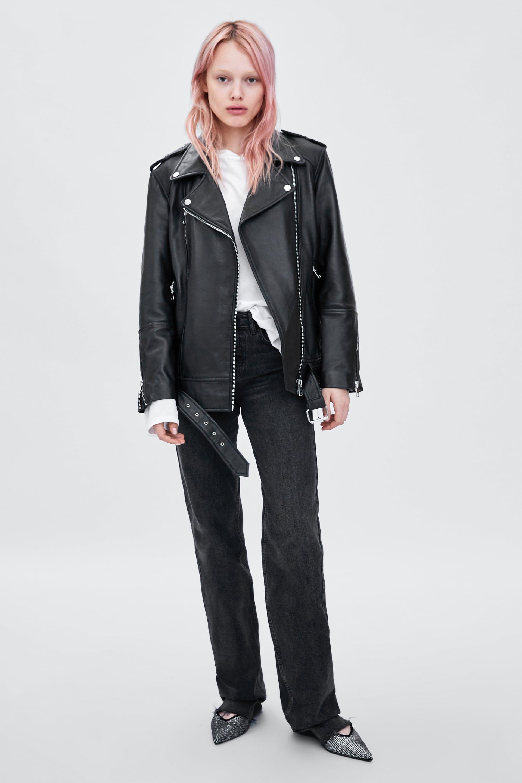 Image 1 Of Oversized Leather Jacket From Zara Naryady S Kozhanoj Kurtkoj Zhenskie Kozhanye Kurtki Kozhanye Naryady [ 2880 x 1920 Pixel ]