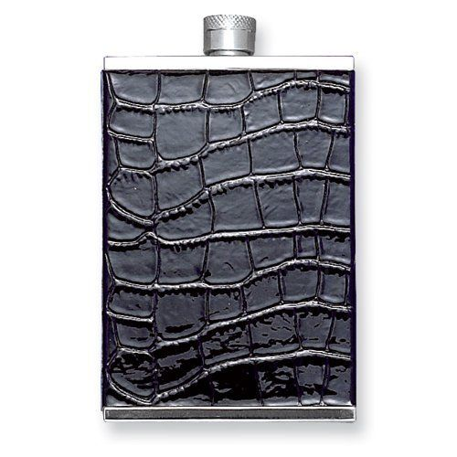 Dining Kitchen Oz Okinawa: 2 Oz. Black Faux Leather Stainless Steel Flask Perfect
