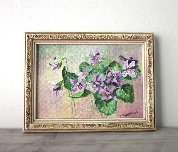 Vintage Oil Painting  Signed  Purple Violet Flowers by 22BayRoad, $22.00