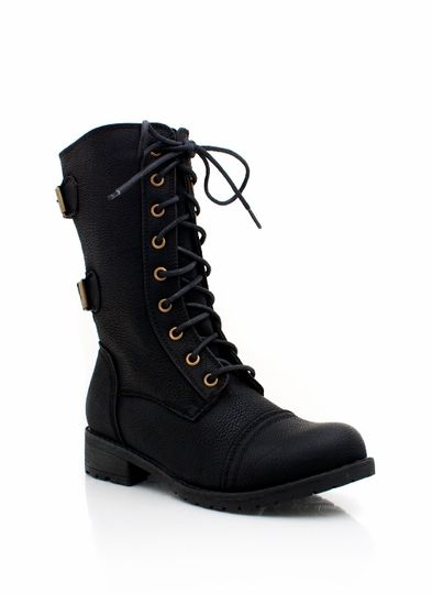 Mid Rise Combat Boot BROWN WHISKY BLACK