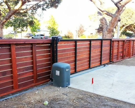 Modern Wooden Fencing With Sliding Gate With Black Tones