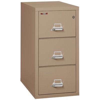 FireKing Fireproof 3-Drawer Vertical File Cabinet Finish: Taupe, Lock: Manipulation-Proof Comb. Lock