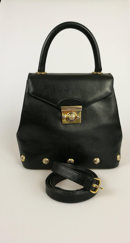 a3e897bbe373 SALVATORE FERRAGAMO Vintage Black Shoe Charm Bag   Handbag   High Heels  Gold Motif by DelpheneAvenue