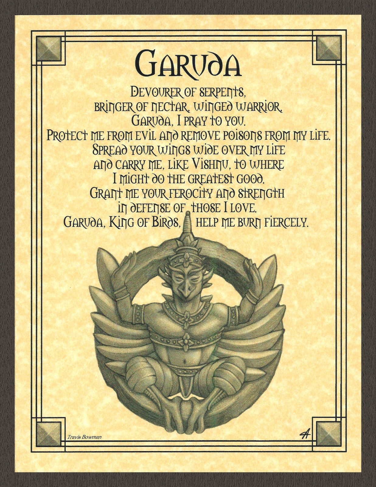 GARUDA Prayer Shaman Poster Animal Spirit Guide Buddhist Hindu Art ...