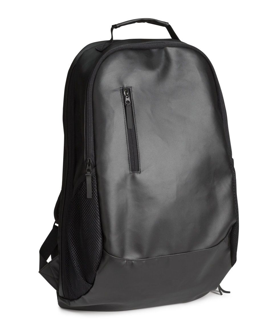 4a207cfa87 Sleek black backpack with water-repellent surface.  HMMEN