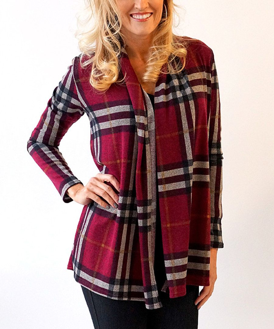 Look at this KISSmeMINT Burgundy Plaid Elbow-Patch Cardigan on #zulily today!