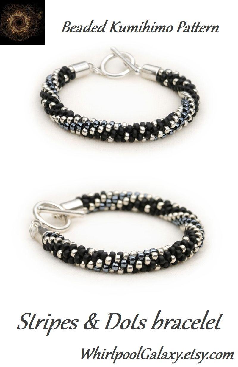 Stripes Dots Kumihimo Bracelet Kumihimo With Beads Pdf Pattern