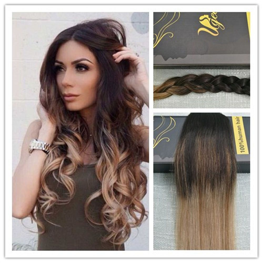 Balayage One Piece Clip In Remy Human Hair Extensions Straight 34