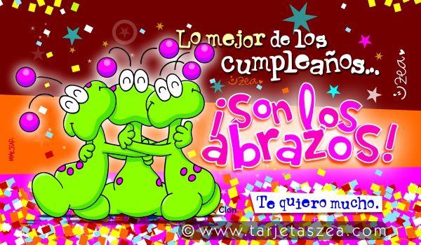 Tarjeta de cumpleaños con abrazos-Marcianos Clones dando abrazo © ZEA www.tarjetaszea.com