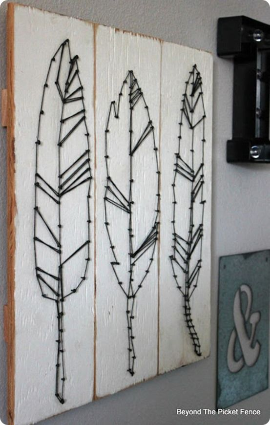 String Wall Art diy wall art ~ diy feather string art | diy home decor | pinterest
