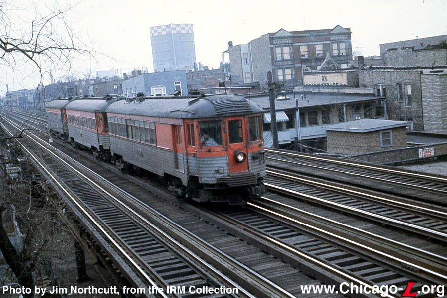 "Caption ""A threecar train of North Shore Line"