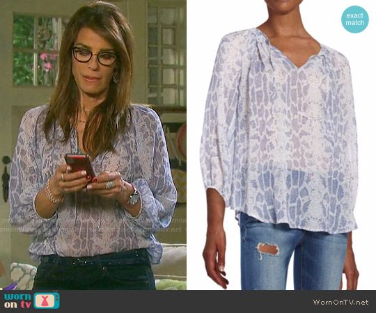 Hope's blue snake print blouse on Days of our Lives.  Outfit Details: https://wornontv.net/58266/ #DaysofourLives  Buy it here: http://wornon.tv/36605