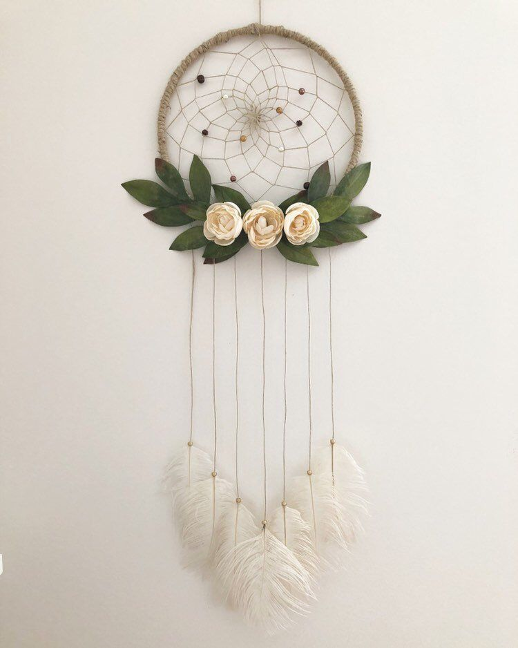 Bohemian Dream Catcher with Greens #dreamcatcher