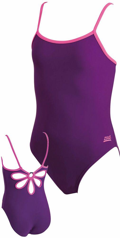 Zoggs Nebula Yaroomba Flowerback Girls Swimsuit Swimming Costume 5448143 Purple
