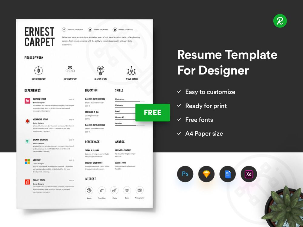 Free Infographic Resume Template with Portfolio and Cover